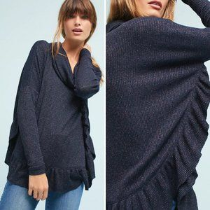 Anthro Postmark Orley Cowl Neck Ruffle Sweater M/L